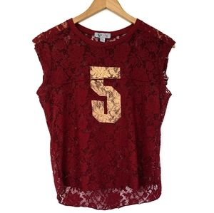 BDG Lace Jersey Maroon Top: Large